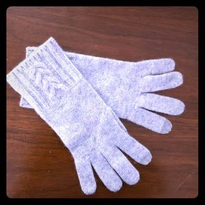 100% Cashmere Gray Knit Gloves